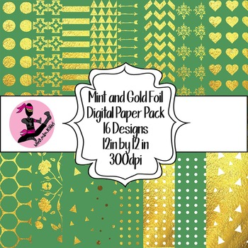 Mint and Gold Foil Digital Paper- 16 Designs- 12 by 12- 300 dpi