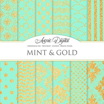 Mint and Gold Glitter Digital Paper sparkle pattern scrapb