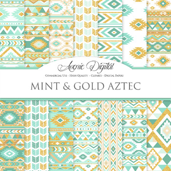 Mint and Gold aztec Digital Paper, Boho seamless patterns backgrounds