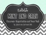 Mint and Gray Classroom Organization and Décor Pack {Editable}