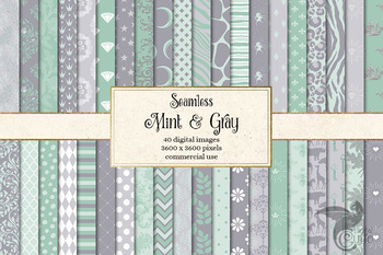 Mint and Gray Digital Paper