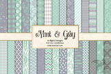 Mint and Gray digital paper, scrapbooking pattern backgrounds