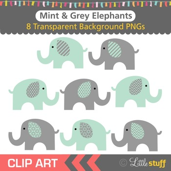 Mint and Grey Elephant Clipart, Green and Gray Elephant Clip Art