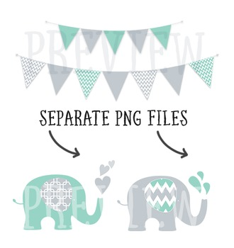 Mint and Grey Elephant and Bunting Clip Art Combo with Digital Papers