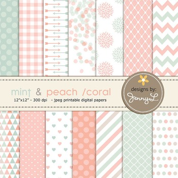 Mint and Peach Coral Digital Paper