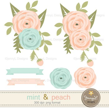 SET: Mint and Peach Digital Papers and Flower Clipart v2