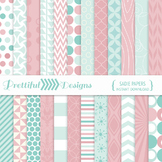 Mint and Pink Digital Papers Backgrounds Commercial Use