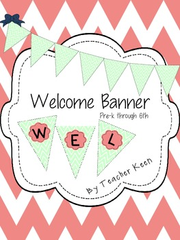 Mint and Pink Welcome Banner in Chevron