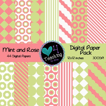 Mint and Rose Digital Papers