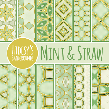 Mint and Straw Backgrounds / Digital Papers / Patterns Clip Art Set