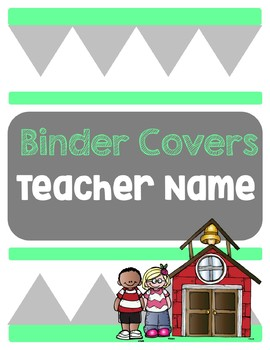 Mint and grey binder covers with spine labels