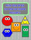 Mint and grey shape posters