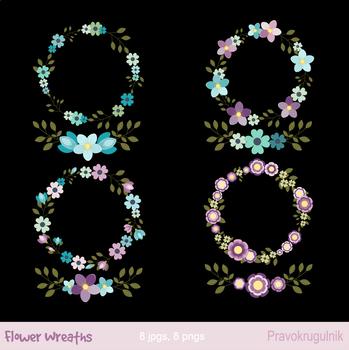 Mint and violet floral wreaths clipart, Flower wreath, laurel round border frame