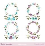 Mint and violet floral wreaths clipart, Flower wreath, lau