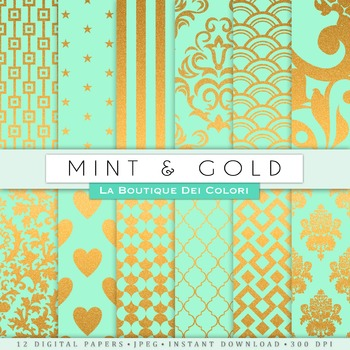 Mint green and Gold Digital Paper, scrapbook backgrounds
