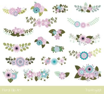 Mint violet green flowers clipart, Wedding birthday floral clip art, bouquet