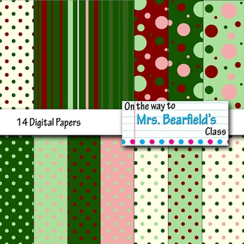 Minty Christmas Digital Papers {14 Backgrounds}