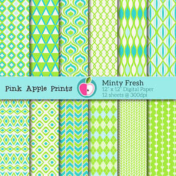 Minty Fresh Style Digital Papers Set: Graphics for Teachers
