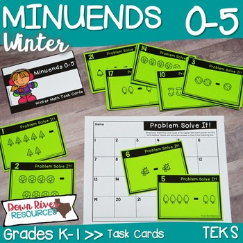 Minuends 0-5 Math Task Cards | Subtraction | Action of Separating | Winter