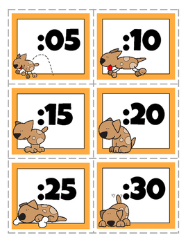 Minute Hand Clock Labels (Dog Theme)