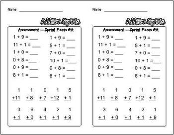 Minute Math ~ Addition Sprints