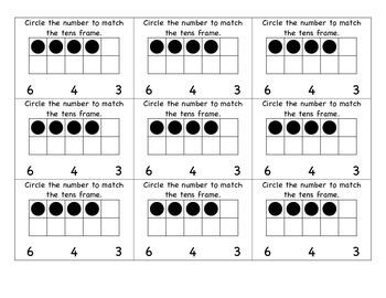 Minute Math Assessments: Tens Frames 1-10