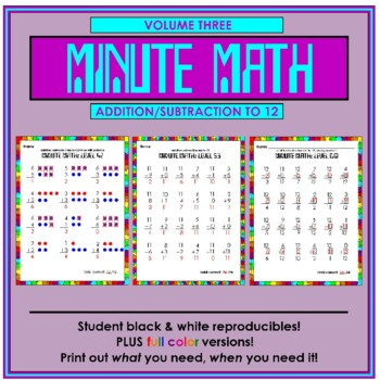 Minute Math Volume 3 (Addition and Subtraction to 12)