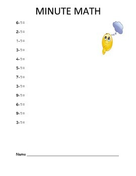 Minute Math Worksheets