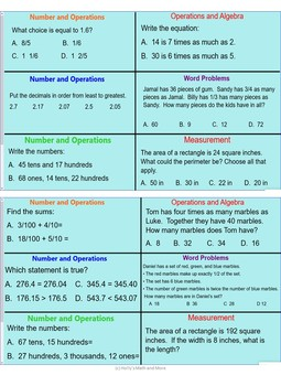 Minute Math for EOG Review for 4th Grade- Week 2