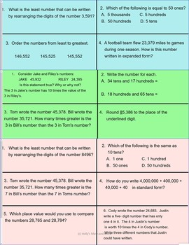 Minute Math for Place Value (2)- 4th Grade