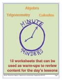 Minute 'Minders -- Algebra, Trigonometry, and Calculus Bundle