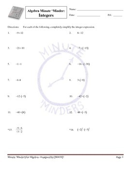 Minute 'Minders--Algebra Warm-Ups