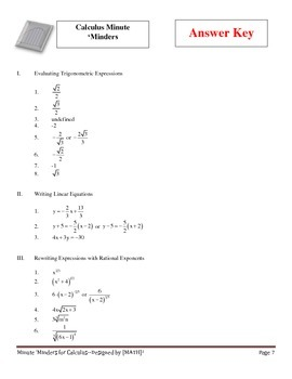 Minute 'Minders -- Calculus Warm-Ups