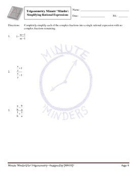 Minute 'Minders -- Trigonometry Warm-Ups
