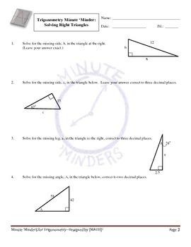 Minute 'Minders -- Trigonometry Warm-Ups