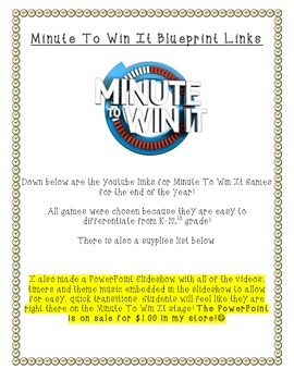 Minute To Win It! (Blueprint Links and Supply List ONLY)