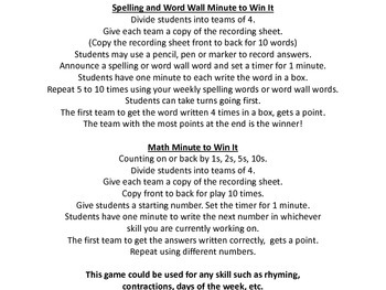 Minute to Win It: A Whole Class Game