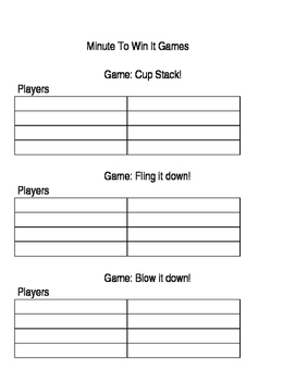Minute to Win It Games and Sign Up List