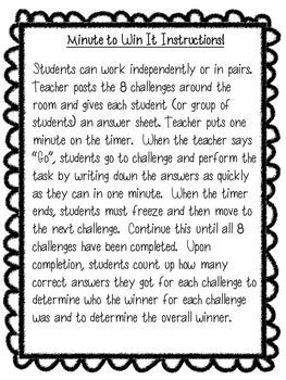 Minute to Win It Literacy K-1