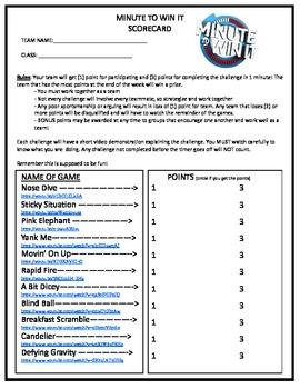 Minute to Win It Scorecard & Games