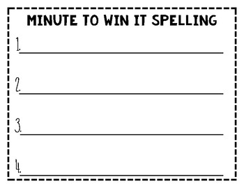 Minute to Win It Spelling Game