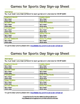 minute to win it themed sports day sign up sheet by candice renaker