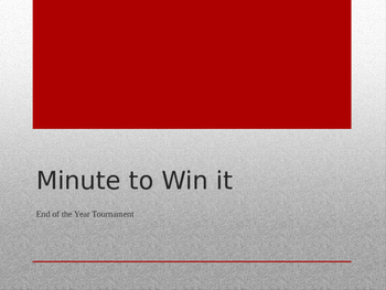 Minute to Win It Tournament *EDITABLE*