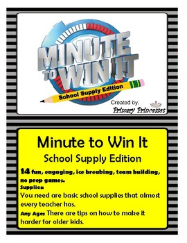 Minute to Win it School:Supply Edition- Team Builders Only Need School Supplies
