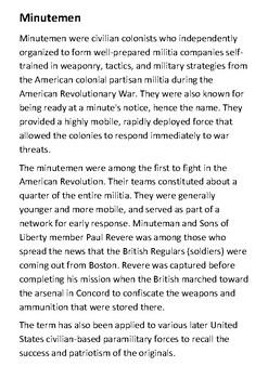 Minutemen Handout
