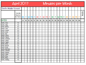 Minutes per Month Tracker