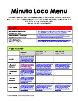 Minuto Loco Menu - Verb Conjugation Races
