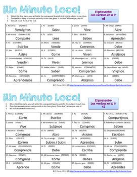 Minuto Loco Mini - ER and IR Verbs in Present Tense - Conjugation Races