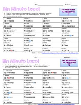 Minuto Loco Mini - Negative Tú Commands - Conjugation Races