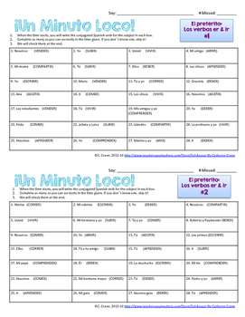 Minuto Loco Mini - Preterite ER & IR Regular Verbs - Conjugation Races